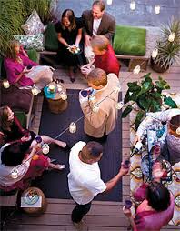 holiday party ideas at home. spruce up your indoor-outdoor space with a few eco-friendly elements. amenity holiday party ideas at home