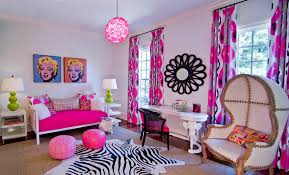 eclectic kids room with designed pink chandelier