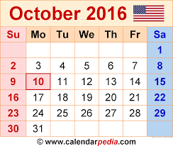 Small Picture October 2016 Calendars for Word Excel PDF