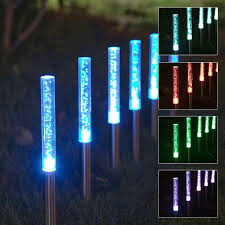 Colour Changing Tube Light 3 Pc Solar Powered Colour Changing Pathway Garden Lights With Bubbles Feature Fully Waterproof Light Up Your Path Walkway Or Patio Colour Changing