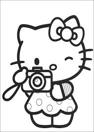 Kleurplaat Hello Kitty Camera Printablesgraphics Hello Kitty