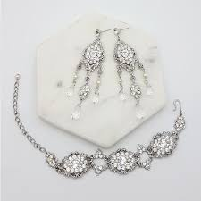 swarovski pearl and crystal bridal bracelet earring set