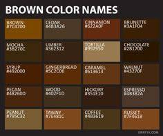 List of Colors with Color Names. brown color names