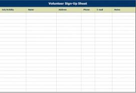 volunteer sign up sheet templates volunteer sign up sheet volunteer sign up sheet template