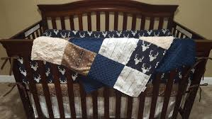 woodland boy crib bedding navy buck deer skin minky white tan arrow ivory crushed minky and navy crib bedding ensemble