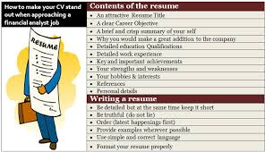 Contents and writing of the resume