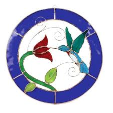 stained glass circle hummingbird blue circle frame window panel stained glass circle designs