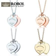 2019 robol 100 double heart lock pendant in sterling silver gold color rose gold necklace clavicle chain girl gift from wutiamou 26 81 dhgate com