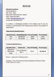 Resume Format Download Adorable Mechanical Diploma Resume Format For Freshers Latest Engineer