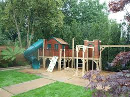 kids tree houses with slides. Childrens Treehouse On A Platform With Spiral Slide, Climbing Wall, Firemans Pole, Monkey Kids Tree Houses Slides