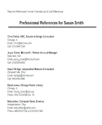 Reference Samples For Resume Resume Reference Template