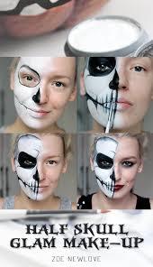 tutorial simple half skull glam make up halloween make up