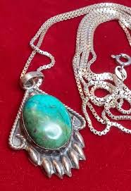 vintage sterling silver turquoise bear paw pendant necklace chain 925 italy 36 1826062106