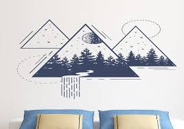 geometric wall decal forest wall art