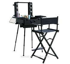 trolley stand mobile professional aluminum led makeup case with lights portable station studio
