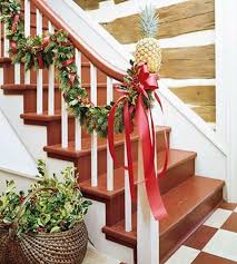 Christmas Stairs Decoration Ideas  Oversized ribbon bowls looks gorgeous  on any staircase.