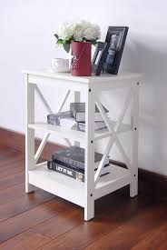 com white finish wooden x design chair side end table with 3 tier shelf kitchen dining