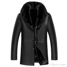 2019 shearling jacket men fur coats winter leather jackets snow clothes warm outwear overcoat thick tops real fur collar plus size outdoor jacket from