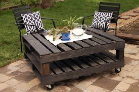 Interior Outdoor Wood Pallet Coffee Table With Truckle And Metal. pallet  garden furniture
