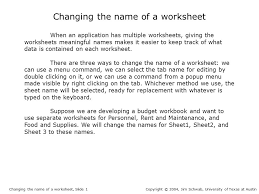 Changing the name of a worksheet When an application has multiple ...