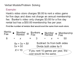 verbal models problem solving example hank s charges 8 00 to a