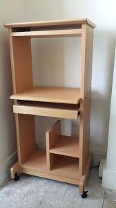 Desk ~ Tall Computer Desk Table Unit On Castors In Light Wood Tall For  Elegant Household Tall Desk Table Decor
