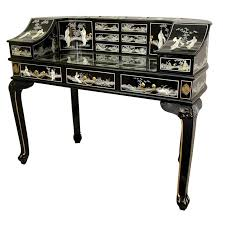 lady s roll secretary desk with mother of pearl design