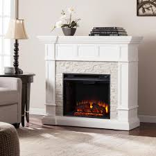 w corner convertible electric fireplace in white