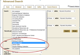 locating dissertations and theses tutorials ou libraries for oakland university theses and dissertations use advanced search in the library catalog limiting the location to oakland theses