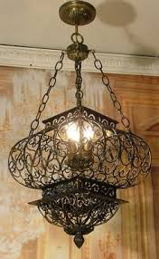 tuscan style lighting. Use Tuscan Style Lighting In An Office: Antique Vintage Wrought Iron Cage Chandelier Ceiling T