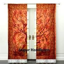 orange tree of life window curtains bohemian 2 panel ds dotz shower curtain