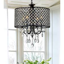 Drum Light Fixtures Pendants Lumos Antique Black 4 Light Round Crystal Chandelier Drum Pendant Ceiling Lighting Fixture For Dining Room Living Room
