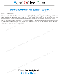 Brilliant Ideas Of Experience Letter For Teacher From School Awesome