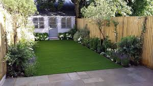 Small Picture modern low maintenance garden design easy lawn grass painted fence