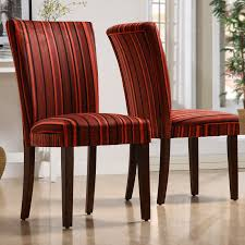 Homelegance Royal Red Striped Design Fabric Parson Chairs - Brown - Set of  2 - Dining
