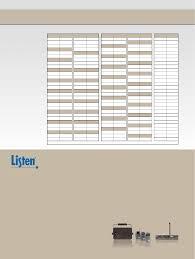 Listen Technologies La 101 La 106 La 326 Frequency Chart