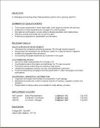Sales Representative Resume Examples Objective Summary Of