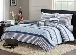 Blue Grey White Striped Teen Boy Bedding Twin XL Full/Queen ... & Blue Grey White Striped Teen Boy Bedding Twin XL Full/Queen Comforter or  Quilt Set Adamdwight.com