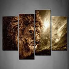 4 Panel Wall Art Brown Fierce Lion Against Stormy Sky Painting The Picture  Print On Canvas Animal Pictures For Home Decor Decoration Gift piece  (Stretched ...