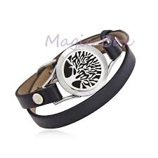 essential oil diffuser locket genuine leather bracelet sunflower round shape aromatherapy stainless steel locket bracelet