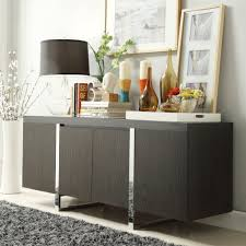 Black Table Lamp And Stylish Picture Using Grey Rug For Modern Dining Room  Plan Using Minimalist Buffet