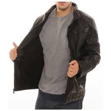 alta men s motorcycle er faux leather fleece lined zipper jacket black