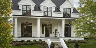 benjamin moore white dove modern farmhouse with black window trim and front door