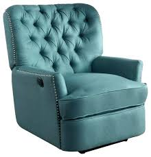 blue leather recliner chair full size of teal leather recliner chair green tufted fabric power transitional