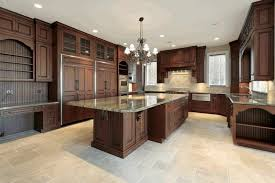 kitchens with dark cabinets and tile floors.  With Dark Cabinets Floral Pattern Tile Backsplash Hanging Open Shelves Exposed  Stone Wal Ceramic L Shaped Outdoor Kitchen Mosaic Glass And Kitchens With Floors A