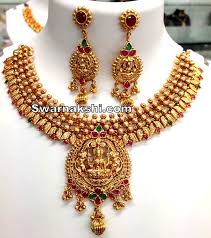 1 gram gold antique ruby emerald lakshmi necklace swarnakshi jewels and accessories