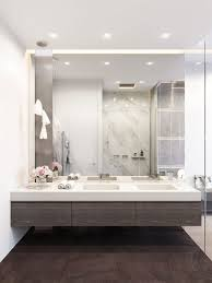 large modern bathroom. Modern Bathroom With Dark Woods, White Marble And A Mirror Wall Large