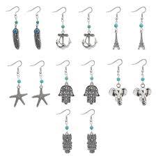 earrings chandeliers jewelry antique silver plated alloy feather anchor elephant owl drop earrings vintage whole er683 vintage woemn chandelier earrings