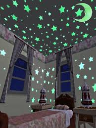 Buy <b>100Pcs</b> Blue Star& 1Pc Moon 3D DIY <b>Room</b> Home Glow In The ...