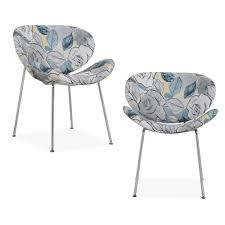 handy living peter multi abstract fl blue modern armless chairs with chrome legs set of